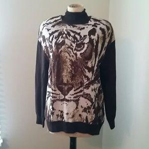 Vintage St. John Tiger Design Sweater, Medium